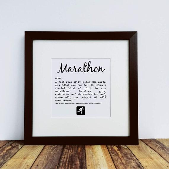 Marathoner Gift. Marathon Definition. Large Framed Print. Marathon Training, Marathon Print, Marathon Runner Gift. New York. Boston. London