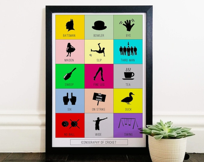 A3 Framed Poster - Cricket Iconography - Cricket Gifts for Him