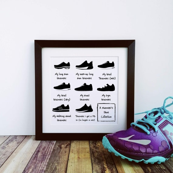Running Gifts - A Runner's Shoe Collection - Large Framed Print, Runner Gifts, Running Wall Art, Gifts for Runners, Running Buddy Gift