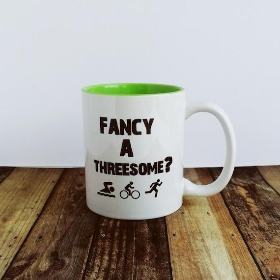 Triathlon Gifts. Fancy a Threesome? Triathlon Mug, Ironman Gifts. Half Ironman Gifts.