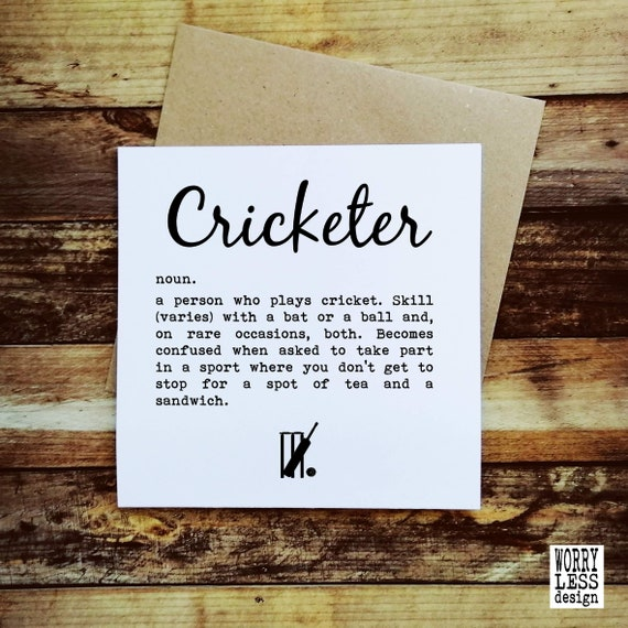 Cricket Card - Cricketer. Cricketer Card, Card for Cricketer, Cricket Dad. Cricket Fathers Day Card. Funny Cricket Card. Cricket Lover Card.