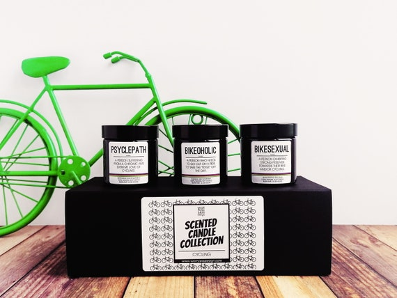 Cycling Gifts - Scented Candle Set - Cycling Definitions Collection. Psyclepath, Bikesexual and Bikeoholic.  Gifts for Cyclists.