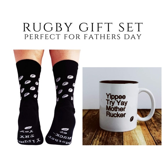 Rugby Gift - Yippee Try Yay Mug and Rugby themed Socks. Rugby Gift Set, Rugby Mug, Rugby Fathers Day , Rugby Gifts. Funny Rugby Quote.