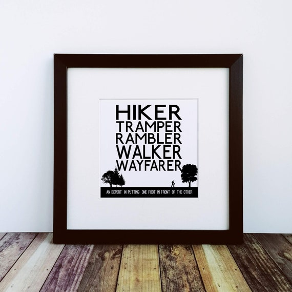Hiking Gifts - Walker Definitions. Large Framed Print. Walking Gift. Rambler Gift, Men's Gifts Hiking. Hiking Gifts for Her. Outdoor Gift.