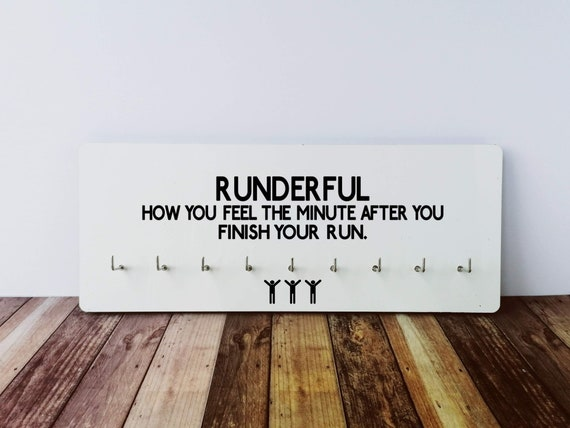 Medal Hanger - Runderful. Running Medal Holder, Race Medal Display, Race Medal Holder, Run Medal Display. Gifts for Runners