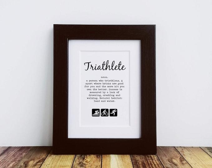 Mounted or Framed Print - Triathlete Definition - Best Gifts for Triathletes