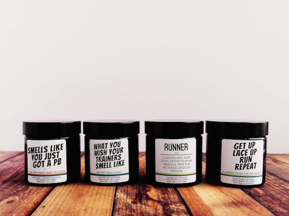 Runner Gifts - Scented Soy Candle - Choose from 5 Designs and Scents - Funny Running Themed Candle
