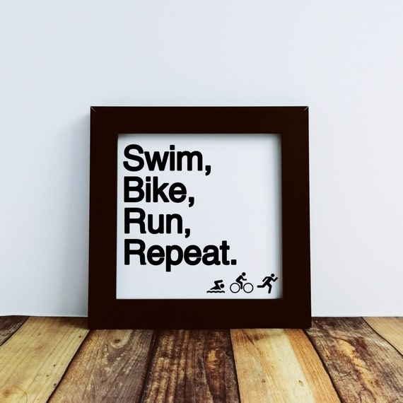 Triathlon Gifts. Swim Bike Run Repeat. Small Framed Print, Gift for Triathlete, Ironman Gifts, Ironman Triathlon, Triathlon Wall Art