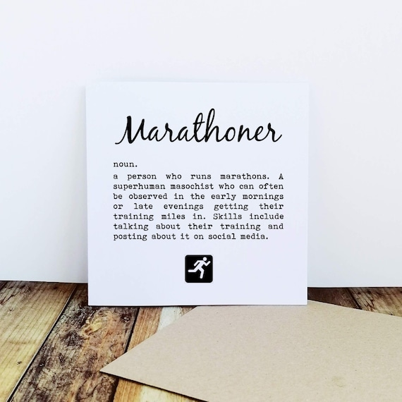 Marathoner....Running Card, Runner Card, Card for Runner, Marathon Card, Half Marathon Card, Funny Running Card, Sporty Card