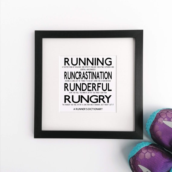 Runner Gifts, A Runner's Dictionary. Large Framed Print, Gifts for Runners, Running Gifts for Men, Marathoner Gift, Running Gift Runner Gift