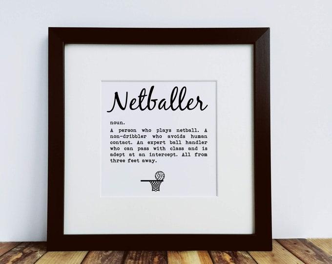 Large Framed Print - Netballer Definition - Presents for Netball Lovers