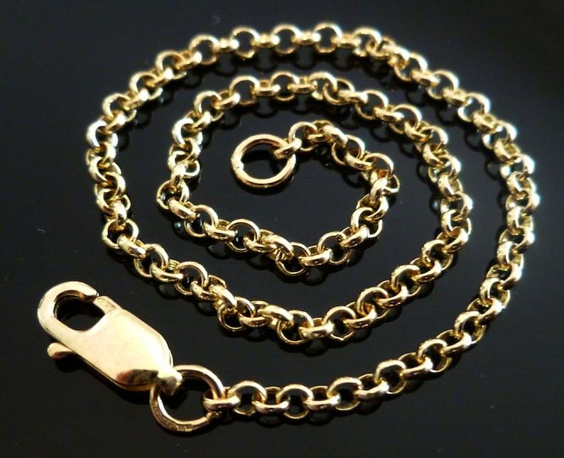 37902857b6819 Solid Gold Rolo Belcher Chain, 9ct 9k 375, Yellow Rose White, Men's Women's  Chain, 3.4mm 18
