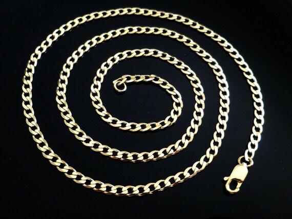 34UKD Solid 9ct 375 Yellow Gold Diamond Cut Flat 1mm Curb Chain