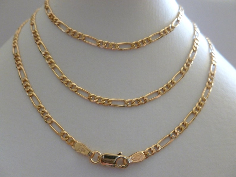 95a398581f137 9ct 9k Solid Yellow Solid Gold Figaro Flat Link Chain Necklace 60CM 24