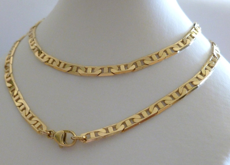 44d8aba01fcb9 9k 9ct Solid Yellow Gold Anchor Marine Flat Chain Necklace 18