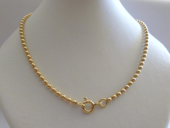 9ct Solid Yellow Gold Bead Ball Chain Necklace 50cms 20