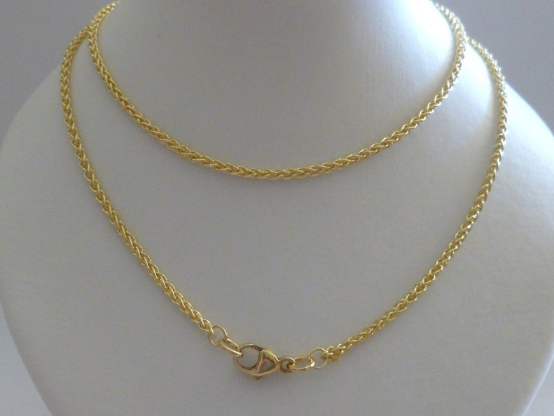 c93a8fce03789 18ct 18k Solid Gold Braided Wheat Chain, Yellow White Rose, Solid Gold Rope  Chain, 1.7mm Men Women 18