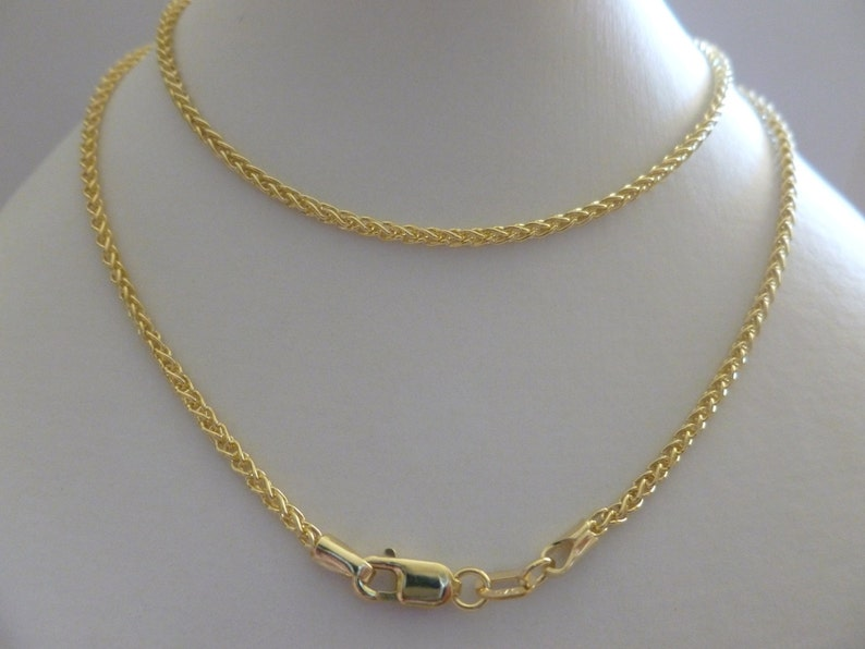 0e0700888bde8 9ct Solid Yellow Gold Braided Wheat Chain Necklace 50cm's 20 Inches N97, 9k  375,10k, Gold Rope Chain, Men Women, Hallmarked, Free Gift Pouch