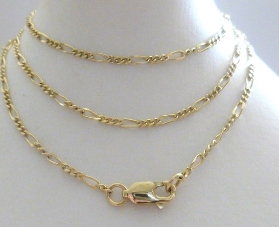 Gold Figaro Chain 10k 9k 375 Solid Gold Chain Yellow,White,Rose 18