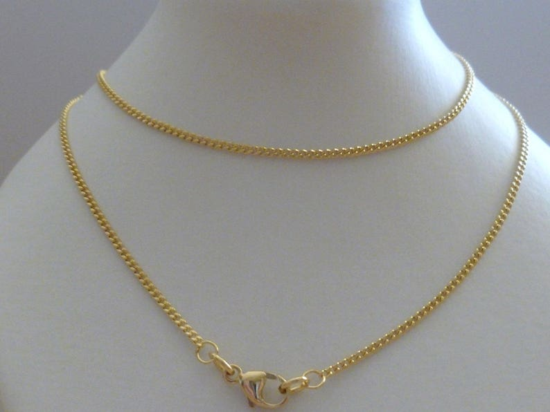 6030d0ae41c1a 18k Solid Gold Curb Chain Fine Link Diamond Cut Gold Necklace 50cm's 20