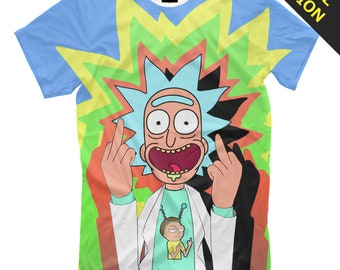 e5f5dddec Rick and Morty blue t-shirt - crazy scientist psychedelic Psy print with  acid colorful print LSD trip EDM party fuck middle finger