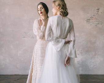 White wedding dress, Vintage wedding dress, Custom wedding dress, Silk A-line wedding dress, Summer wedding dress - 2017 // 0132