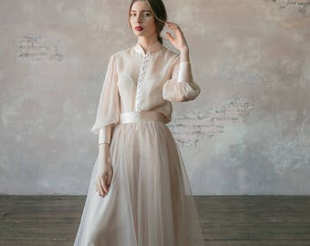 c6d89f9b6d20 Vintage wedding dress from natural silk and blush tulle skirt. Victorian wedding  dress