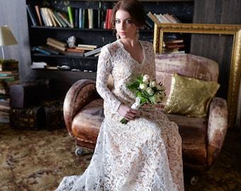 Modest wedding dress, Long sleeves wedding dress, Ivory wedding dress, Classic wedding dress, Winter wedding dress, 0061 // 2017