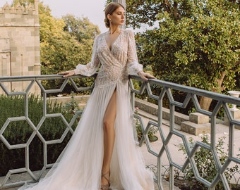 Sexy wedding dress with illusion effect, beaded wedding dress for a beach, most expensive wedding dress with bell sleeves, garden dress 0165