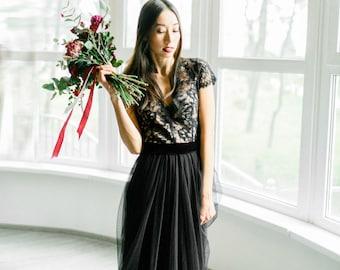 Black wedding dress, Gothic wedding dress, Custom black wedding dress, Lace black wedding dress, Black tulle wedding dress, 0100 // 2017