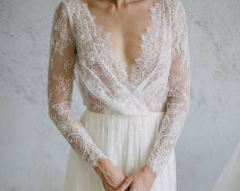 Long sleeve wedding dress, Sheath wedding dress, Sexy Lace wedding dress, Backless wedding dress, Silk Boho Bohemian wedding dress 0096