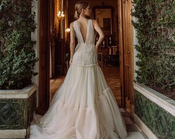Wrap petite wedding dress with long train, Ombre wedding dress, Champagne wedding dress, Fit and Flare wedding dress with deep v neck / 0164