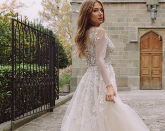Fairy wedding dress made of natural silk with illusion sleeves, flowy wedding dress, Royal wedding dress, Оrganza Floral wedding dress 0168