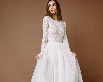 Bridal bodysuit with tulle skirt wedding dress, Long sleeve lace bodysuit, Simple modern long sleeves lace wedding dress Bonita 0185 / 2021