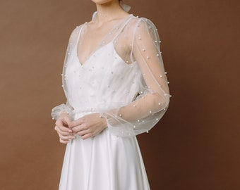 Romantic wedding dress with pearls and a line silhouette, Simple wedding dress with puff sleeves, light summer wedding dress Alisa 0183 2021