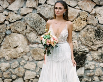 Illusion sexy wedding dress with open back, Wedding dress with low backs - Backless, spaghetti strap wedding dress Angel \ 0228 \ 2021 coll.