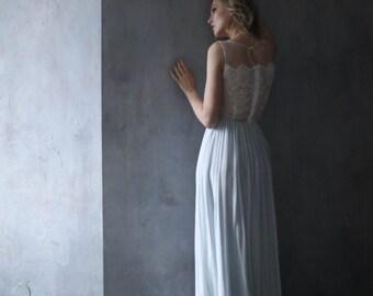 Simple wedding dress, Beach wedding dress, Blue wedding dress, Maternity wedding dress, Colored wedding dress, Light blue dress 0106 // 2017