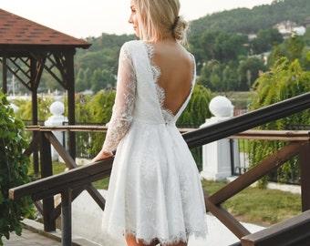 Short bridesmaid dress, Short wedding dress, Lace short dress, Summer bridesmaid dress, Summer wedding dress, 0027 // 2016