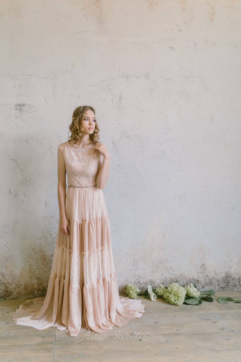 Boho Wedding Dress Bohemian Wedding Dress Casual Wedding Dress Colored Wedding Dress Beach Lace Chic Vintage Wedding Dress 0203