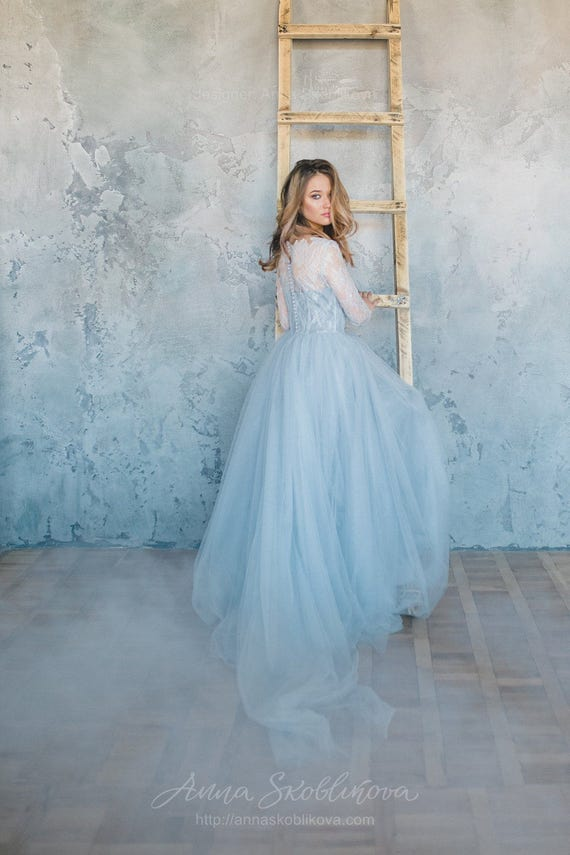 Blue Wedding Dress Tulle Wedding Dress Blue Lace Wedding Etsy