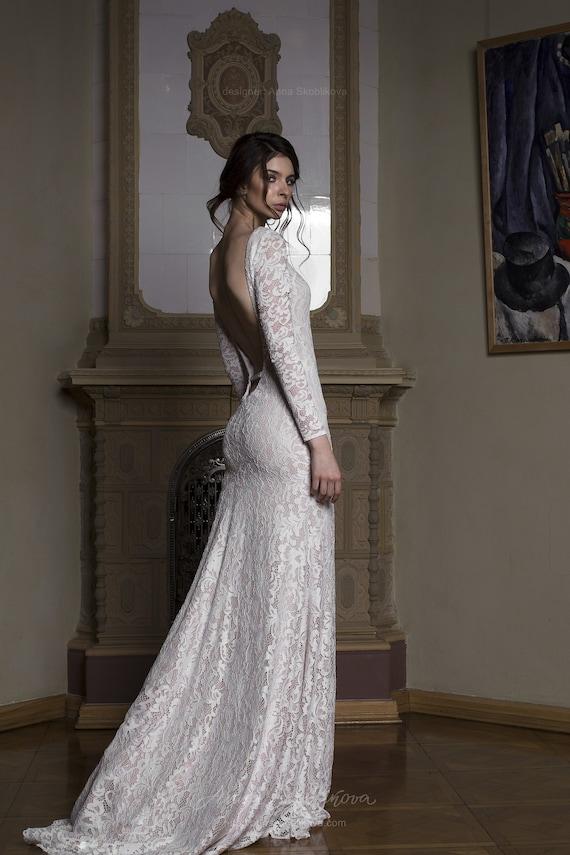 Long Sleeve Lace Wedding Dress Lace Wedding Dress Backless Etsy