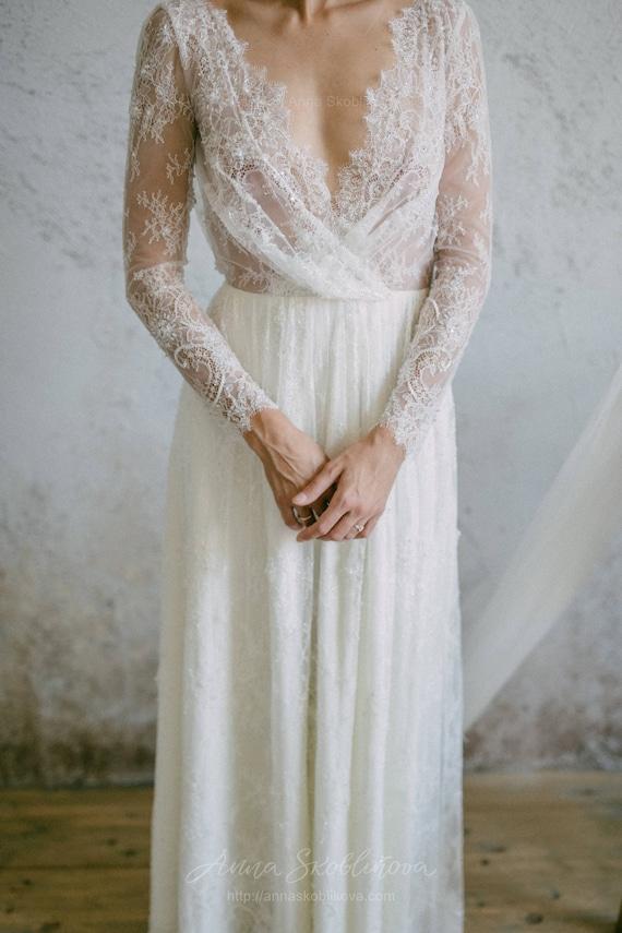 Long Sleeve Wedding Dress Sheath Wedding Dress Sexy Lace Etsy