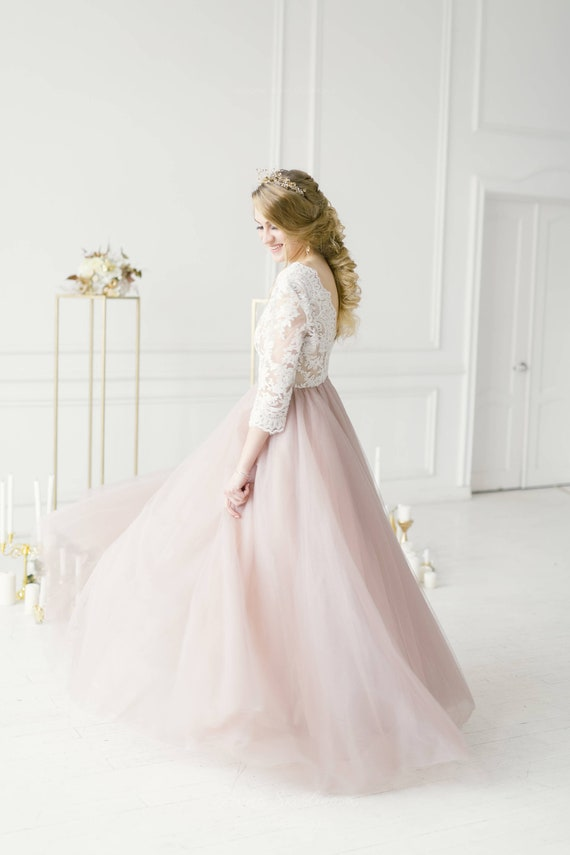 Plus size wedding dress, Blush wedding dress, Pink wedding dress, long  sleeve wedding dress, tulle custom wedding dress - 2019 / 0079