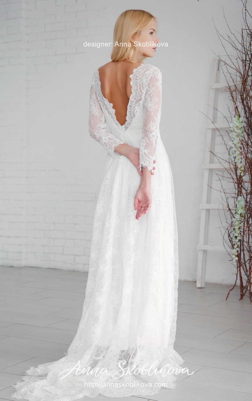 2017 // 0054 Weißes Hochzeitskleid Modest Hochzeitskleid ...