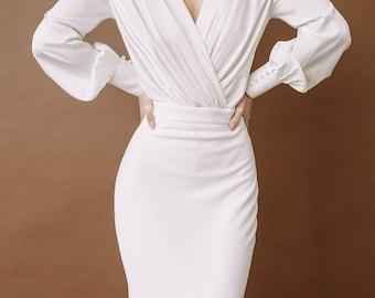Fishtail wedding dress in sexy wedding dress gown style, Mermaid wedding dress, Wrap satin wedding dress, Trumpet wedding dress 0184 \ 2021