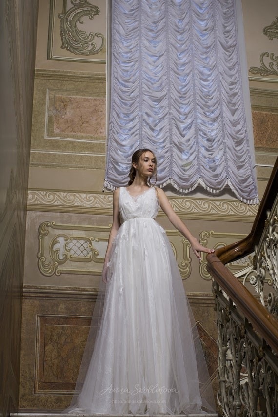 Simple Wedding Dress Bridal Beach Wedding Dress Cheap Boho Etsy