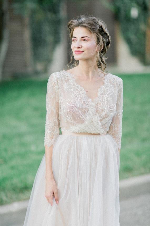 Summer wedding dress, simple wedding dress, A line wedding dress, tea length wedding dress champagne wedding dress unique wedding dress 0224