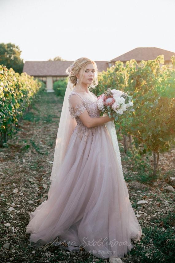 Plus Size Wedding Dress, Princess Wedding Dress, Bell Short sleeves wedding  dress, Pink Blush Wedding Dress, Luxurious wedding dress - 0214
