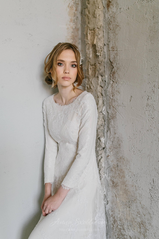Winter Wedding Dress Lace Wedding Dress Vintage Lace Wedding Etsy