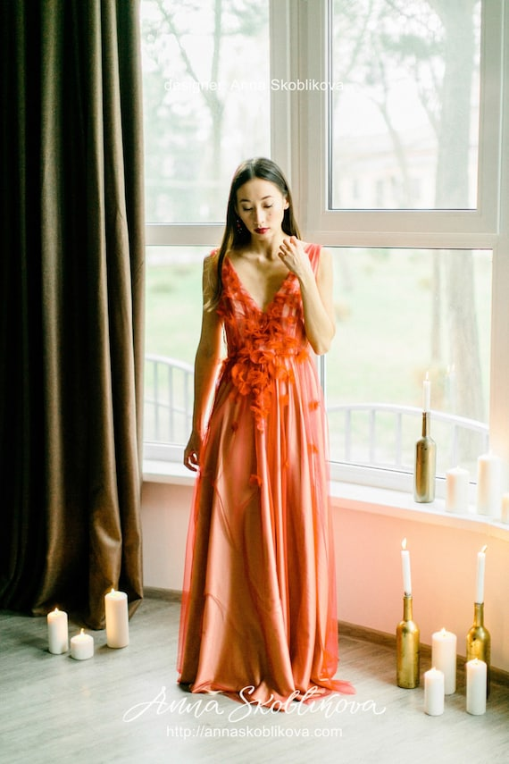 Red Wedding Dress In Boho Style Colored Wedding Dress Bohemian Wedding Dress Red And White Floral Wedding Dress 2019 0101 2